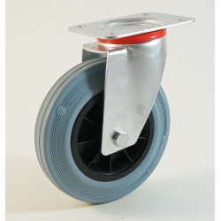 Roulette à platine bandage caoutchouc non marquant CU 50 à 205 Kg