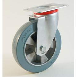 Roulette à platine, bandage caoutchouc gris non marquant, jante aluminium CU 120 à 400 Kg