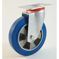 Roulette à platine, bandage caoutchouc bleu, jante aluminium CU 120 à 400 Kg