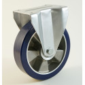 Roulette à platine bandage polyuréthane souple, corps aluminium CU 120 à 400 Kg