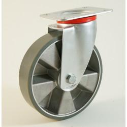 Roulette à platine, roue anti statique, bandage polyuréthane, corps aluminium CU 120 à 400 Kg