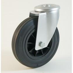 Roulette à trou trou cantral, roue à bandage caoutchouc noir corps polypropylène CU 50 à 205 Kg