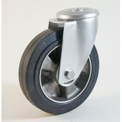Roulette à trou central, roue à bandage caoutchouc noir corps aluminium CU 120 à 300 Kg