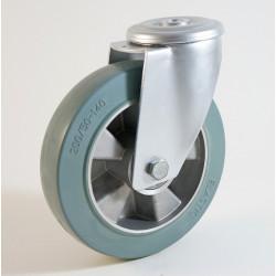 Roulette à trou central, bandage caoutchouc non marquant, jante aluminium CU 120 à 300 Kg