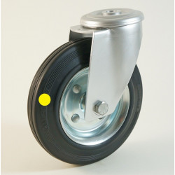 Roulette à trou central, roue anti statique bandage caoutchouc CU 50 à 205 Kg