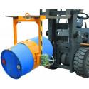 Retourneur de fûts acier et plastique pour chariot élévateur