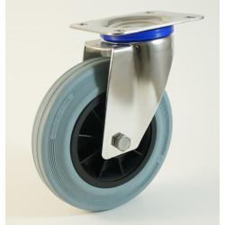 Roulette inox à platine, roue caoutchouc non marquant, charges 50 à 205 Kg (série DG/INOX20)