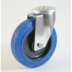 Roulette inox à trou central, roue caoutchouc bleu, charges 150 à 350 Kg (série LB/INOX20)