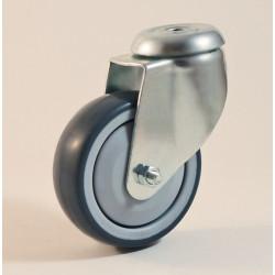 Roulette à trou central, roue bandage TPE non marquant, charges 70 à 100 Kg (série TPE/22)