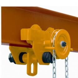 Chariots porte palans manuel à chaîne, charge 3000 Kg, série HGT.
