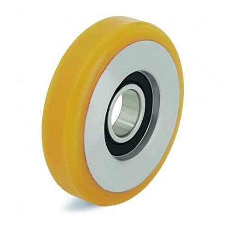 Galets de guidage, bandage polyuréthane, corps acier, 1 roulement à billes, charges 100 à 450 Kg, série GZ